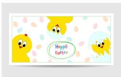 Leuke Pasen-kaart met grappige kippen Stock Afbeeldingen