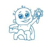 Leuke pasgeboren baby op de pot en met een rammelaar Stock Afbeelding