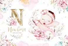Leuke pasgeboren waterverfbaby Nieuw - het geboren het meisje en de jongens schilderen van de kindillustratie Babydouche het geïs royalty-vrije illustratie