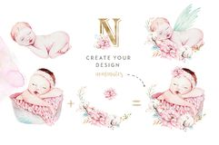 Leuke pasgeboren waterverfbaby Nieuw - het geboren het meisje en de jongens schilderen van de kindillustratie Babydouche het geïs stock illustratie