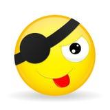 Leuke piraatemoji Plaag emotie Gezette uit tong emoticon De stijl van het beeldverhaal Het vectorpictogram van de illustratieglim Stock Afbeeldingen