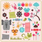 Leuke plakboekelementen met dieren Stock Foto's