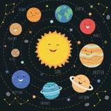 Leuke planeten met grappige het glimlachen gezichten Zonnestelsel met leuke beeldverhaalplaneten Grappig heelal voor jonge geitje royalty-vrije illustratie