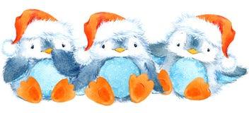 Leuke pluizige vogelpinguïn Waterverf grappige pinguïn Royalty-vrije Stock Afbeeldingen