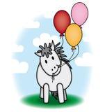 Leuke poney en ballons Royalty-vrije Stock Afbeeldingen