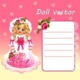 Leuke poppenprinses in roze kleding met kaart Stock Foto's