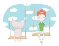 Leuke prins en kat op een schommeling stock illustratie