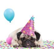 Leuke pug puppyhond die met partijhoed op confettien liggen, die uit tong plakken, van het partying, op witte achtergrond wordt v Royalty-vrije Stock Fotografie