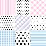 Leuke reeks Baby naadloze patronen met stoffentexturen royalty-vrije illustratie