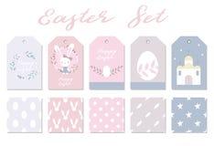 Leuke reeks voor Pasen-ontwerp De gelukkige dag van Pasen Pasen-ontwerpelementen Royalty-vrije Stock Afbeelding