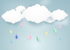 Leuke regenachtige daling en wolkenachtergrond document kunststijl stock illustratie