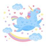 Leuke Regenboogeenhoorn in de Wolken Vector royalty-vrije illustratie