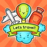 Leuke reisachtergrond met kawaiikrabbels De zomerinzameling van de vrolijke wolk van beeldverhaalkarakters, vliegtuig, ballon Royalty-vrije Stock Foto