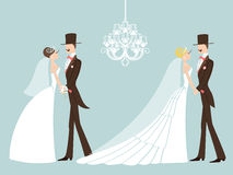 Leuke retro huwelijksreeks De bruid en de bruidegom van het beeldverhaalpaar EPS Stock Foto's