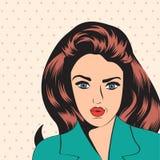 Leuke retro vrouw in strippaginastijl Stock Foto's