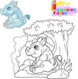 Leuke rinoceroszitting in het kader van een boom kleurend boek stock foto