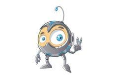 Leuke Robot die het overwinningsteken tonen Royalty-vrije Stock Foto