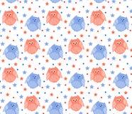Leuke rode en blauwe uilen met sterren op de achtergrond Royalty-vrije Stock Afbeeldingen