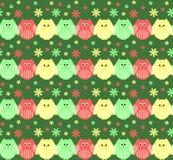 Leuke rode, groene en gele uilen op een rij met bloemen in bac royalty-vrije illustratie