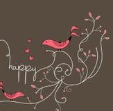 Leuke rode vogel met boom stock afbeelding