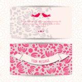 Leuke romantische banners, kaart, het malplaatje van het uitnodigingsontwerp Stock Fotografie