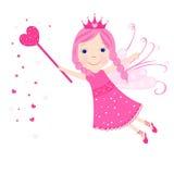 Leuke roze de sterren en de harten vectorachtergrond van het valentijnskaartsprookje Royalty-vrije Stock Foto's