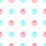 Leuke roze en blauwe uilen met sterren op de achtergrond Stock Afbeeldingen
