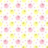 Leuke roze en gele uilen met punten op de achtergrond Stock Afbeelding