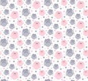 Leuke roze en grijze uilen met sterren op de achtergrond Royalty-vrije Stock Afbeeldingen