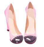 Leuke roze high-heeled schoenen met het tegenover elkaar stellen Royalty-vrije Stock Foto