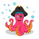 Leuke Roze Piraatoctopus Vector geïsoleerde illustratie stock illustratie