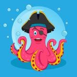 Leuke Roze Piraatoctopus Vector geïsoleerde illustratie Druk voor T-shirt of kinderenboek stock illustratie