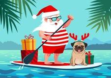 Leuke Santa Claus op tribune op peddelraad met pug hond en giften vector illustratie