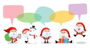 Leuke santa met toespraakbellen op witte achtergrond, de modieuze Kostuums van de kinderenkerstman met toespraak borrelt, santa h Stock Illustratie