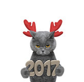 Leuke santakat in rendiergeweitakken met 2017 nieuwe jaaraantallen Royalty-vrije Stock Afbeelding