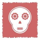 Leuke schedel met abstracte bloemen op een vierkant haveloos roze Royalty-vrije Stock Afbeeldingen