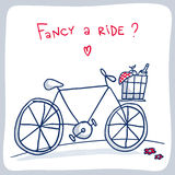 Leuke schets van fiets met mand, het ontwerp van de valentijnskaartkaart Stock Foto