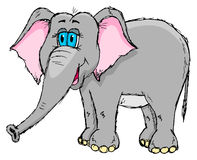 Leuke schetsmatige olifant Royalty-vrije Stock Afbeeldingen
