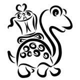 Leuke schildpad met een gift op de rug royalty-vrije illustratie