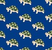 Leuke Schildpad op Blauwe Achtergrond Vector illustratie Stock Afbeeldingen