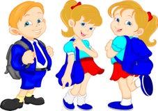 Leuke schooljongen en meisjes Royalty-vrije Stock Afbeeldingen