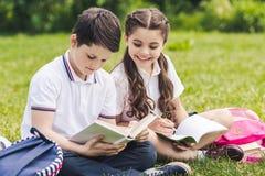 leuke schoolkinderen die thuiswerk doen samen terwijl het zitten op gras stock fotografie