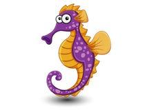 Leuke Seahorse-beeldverhaalvector Royalty-vrije Stock Foto's