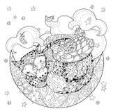 Leuke slaapkat met vleugels stock illustratie