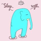 Leuke slaapolifant in pyjama's of trui Hand getrokken goed Royalty-vrije Stock Foto's