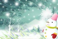 Leuke sneeuwman die de de winterberg overzien - Grafische textuur van het schilderen technieken Stock Foto
