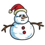 Leuke Sneeuwman die Santa Hat dragen Vector beeldverhaalillustratie Stock Afbeeldingen