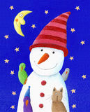 Leuke Sneeuwman, kat en vogels in de nacht Stock Foto