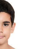 Leuke Spaanse die jongen op wit wordt geïsoleerd royalty-vrije stock foto