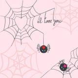 Leuke spinnen in liefde Stock Foto's